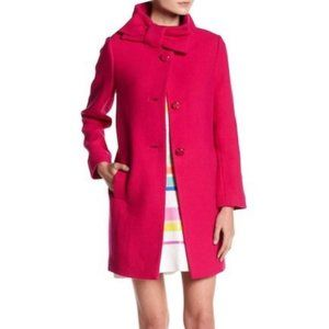 Authentic Kate Spade Coat Pink Bow Neck Wool 0